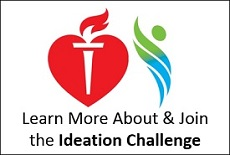 Logos for the AHA and PCORI to promote the Ideation Challenge