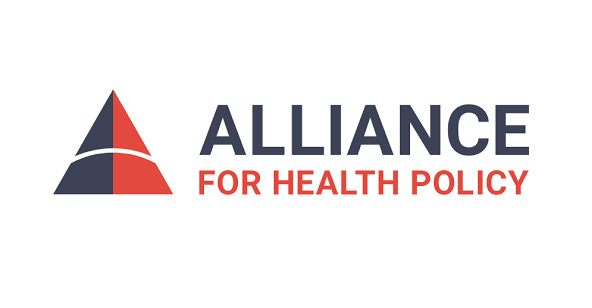 The logo for the Alliance for Health Policy, with a blue and red triangle.