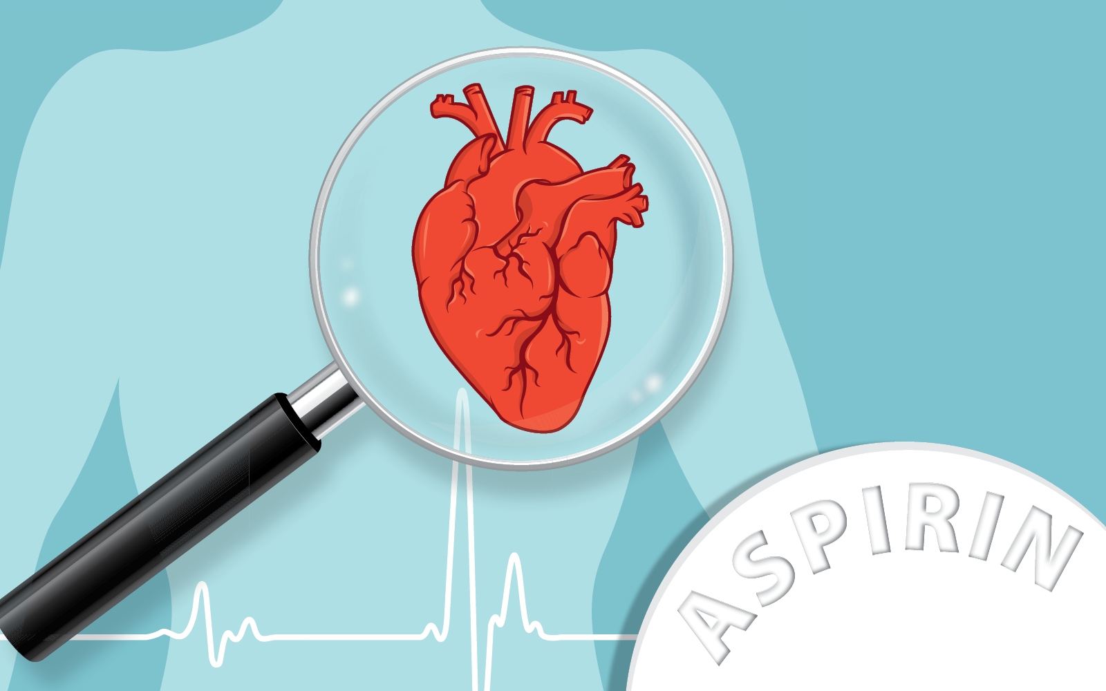 A heart graphic behind a magnifying glass graphic