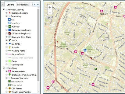 A map shows resources within a community to encourage childhood weight loss.