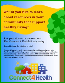 A poster on childhood obesity gives parents the option to learn about community resources for their children.