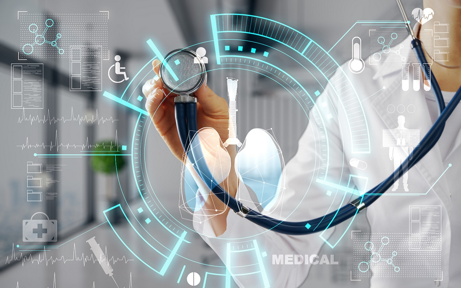 Image for evidence map on artificial intelligence in clinical care. A medical professional holding up a stethoscope against icons of medical conditions and processes.