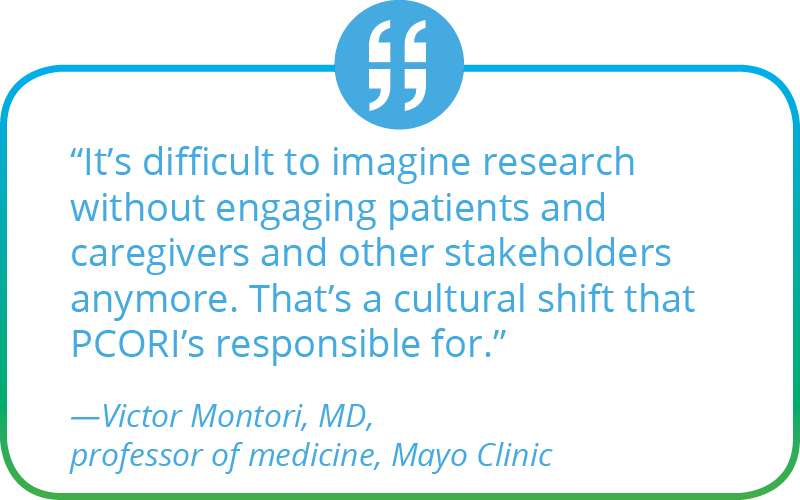 It's difficult to imagine research without engaging patients and caregivers and other stakeholders anymore. That's a cultural shift that PCORI's responsible for. Victor Montori