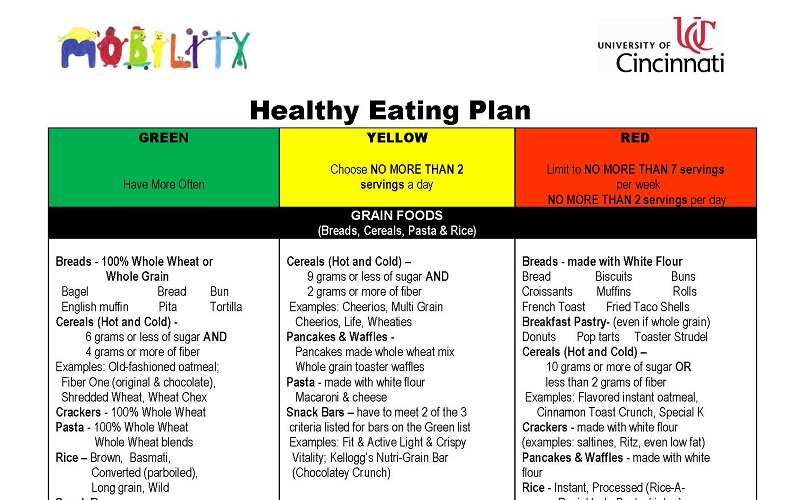 A screenshot of the Mobility Study's Healthy Eating Plan