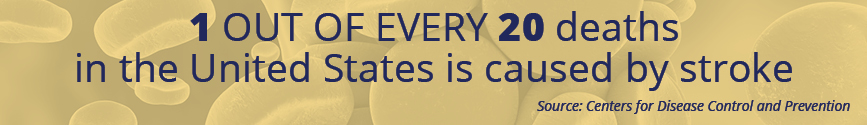 One out of every 20 deaths in the United States is caused by stroke. Source: CDC