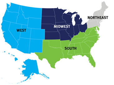 United States map showing the regions where PCORI has ambassadors: West, Sounthwest, Midwest, Southeast, and Northeast