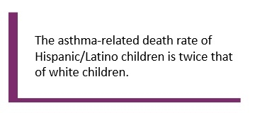 The asthma-related death rate of Hispanic/Latino children is twice that of white children