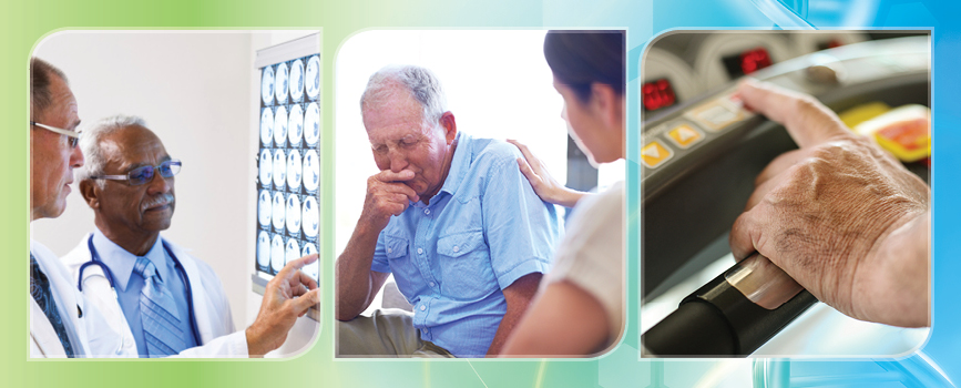 A collage depicting two clinicians examining brain scans, an elderly individual using a treadmill, and a clinician speaking with an elderly male.