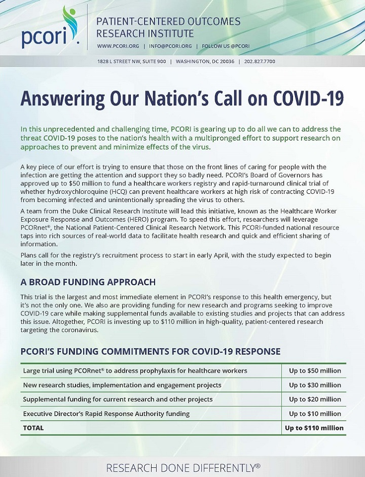 Screenshot of the Answering Our Nation's Call on COVID-19 (Handout)