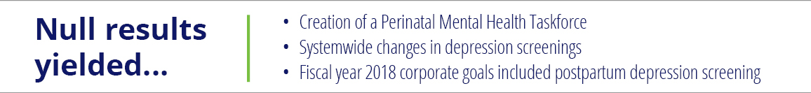 Null results yield... Creation of a Perinatal Mental Health Taskforce, systemwide changes in depression screenings, Fiscal year 2018 corporate goals included postpartum depression screening