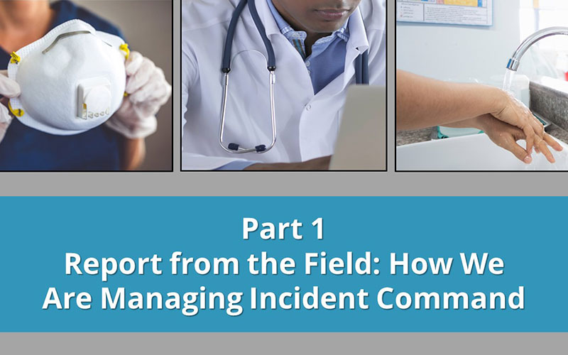 Images of medical clinicians holding an N-95 respiratory mask, sitting at a laptop, washing hands.