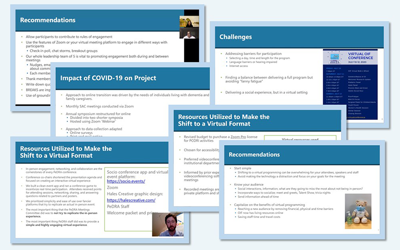 A collage of slides from presentation videos in the Eugene Washington PCORI Engagement Awards: Awardee Share and Tell Video Series