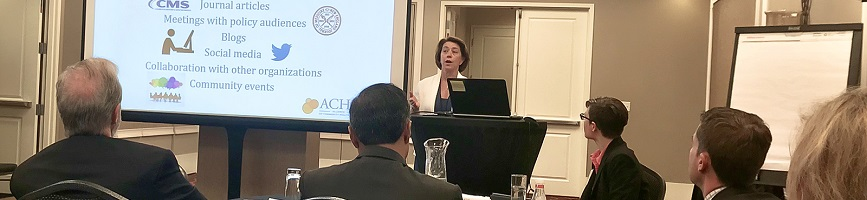 Ceci Connolly, of the Alliance of Community Health Plans (ACHP), speaks about her organization's Engagement Award, which identified how health plans can be involved in disseminating information and changing behavior to better patients' health and experien