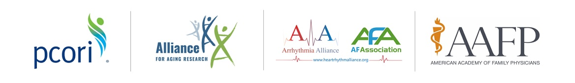 Partner organizations for the Patient and Clinician Evidence Updates for Reducing Risk of Stroke in Patients with Atrial Fibrillation. PCORI, the Alliance for Aging Research, the Arrhythmia Alliance, the AF Association, and the American Academy of Family