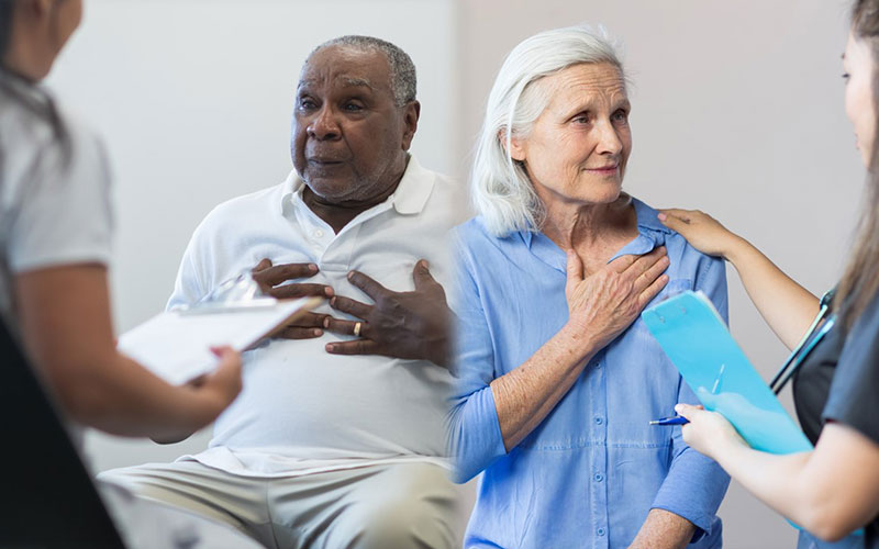 Image -- for the PCORI Evidence Updates on Stroke Atrial Fibrillation for Clinicians -- showing a man standing but hunched over as he grabs his chest in pain and an older, African-American man and a female medical professional are seated in a doctor's consultation room, as he gestures to his chest.