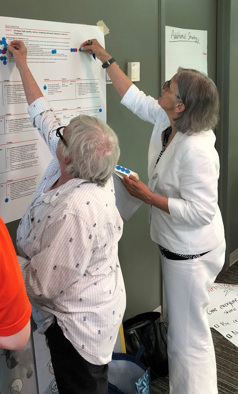 Representatives from rural Appalachia worked together to empower a community advisory board, thanks to a Eugene Washington PCORI Engagement Award. Here, community members participate in an exercise on early detection of cancer.