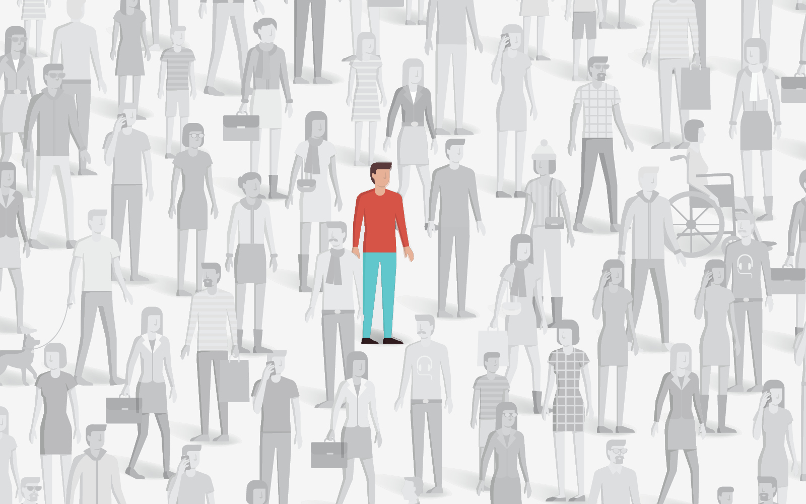 A drawing of a man in a red shirt amongst a crowd of gray people.