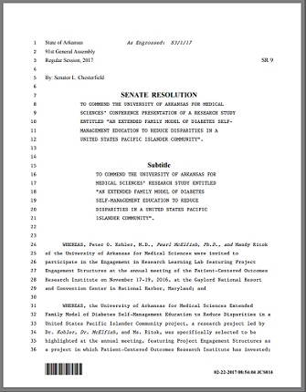 A screenshot of the first page of the Arkansas State Senate Resolution 9: A Arkansas State Senate Commends the Research Team, University of Arkansas