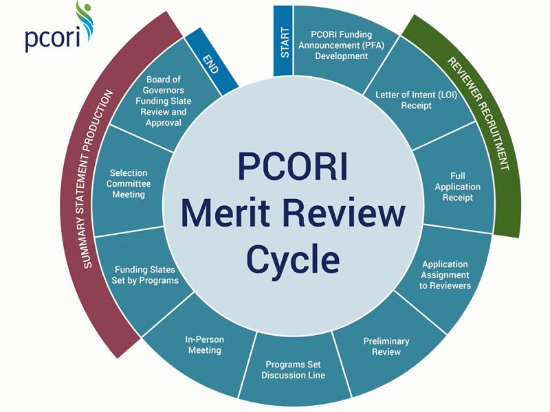 A graphic illustrating the PCORI Merit Review Cycle from the start to the end, including reviewer recruitment and summary statement production.