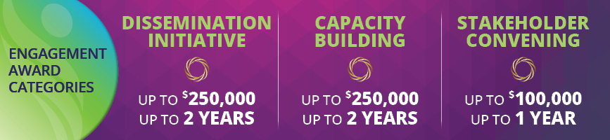Engagement Award Categories Dissemination Initiative - Up to $250,000 and up to 2 years Capacity Building -  Up to $250,000 and up to 2 years Stakeholder Convening - Up to $100,000 and up to 1 year