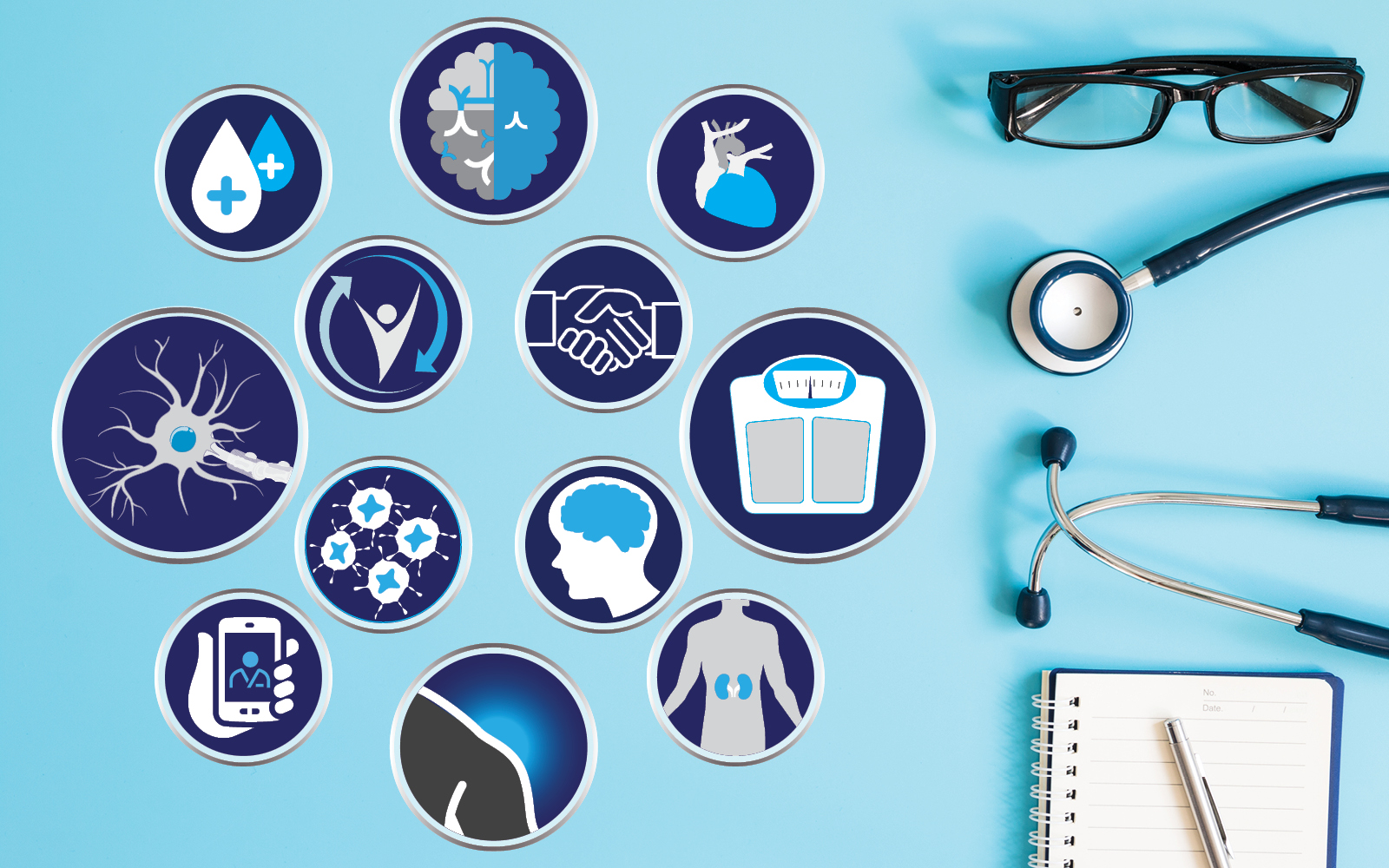 A collection of icons to signify several of the topic that PCORI-funded research projects cover, such as diabetes, mental and behavioral health, cardiovascular disease, multiple sclerosis, shared decision making, obesity, cancer, telehealth and kidney disease. The graphic also includes a pair of reading glasses, a physician stethoscope, and a notepad and pen.