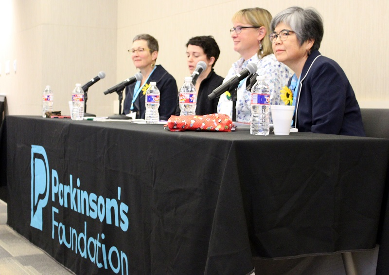 Photo for November 2019 PCORI Story on women and Parkinson's disease. A photo showing four women living with Parkinson's disease as they lead a panel session at the National Forum in Houston, Texas, in October 2018. From left: Yvonne Hylton, Kelly