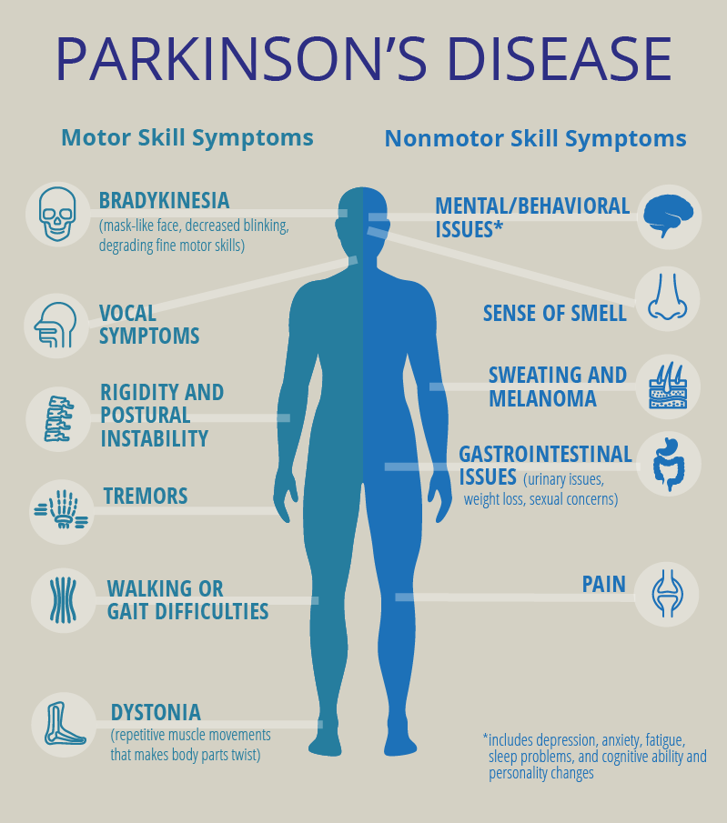 Graphic for November 2019 PCORI Story on women and Parkinson's disease. An illustration of a human body with icons illustrating motor skill symptoms and nonmotor skill symptoms Bradykinesia, Vocal symptoms, Rigidity and postural instability, tremor