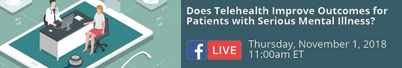 Does Telehealth Improve Outcomes for Patients with Serious Mental Illness? An illustration graphic of two people seated at a desk with health care icons around them, and the Facebook Live icon.