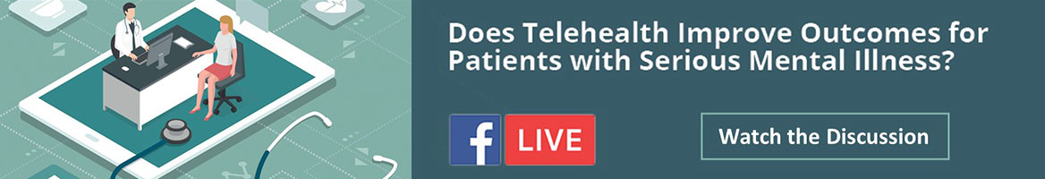 An illustration graphic of two people seated at a desk with health care icons around them, and the Facebook Live icon.