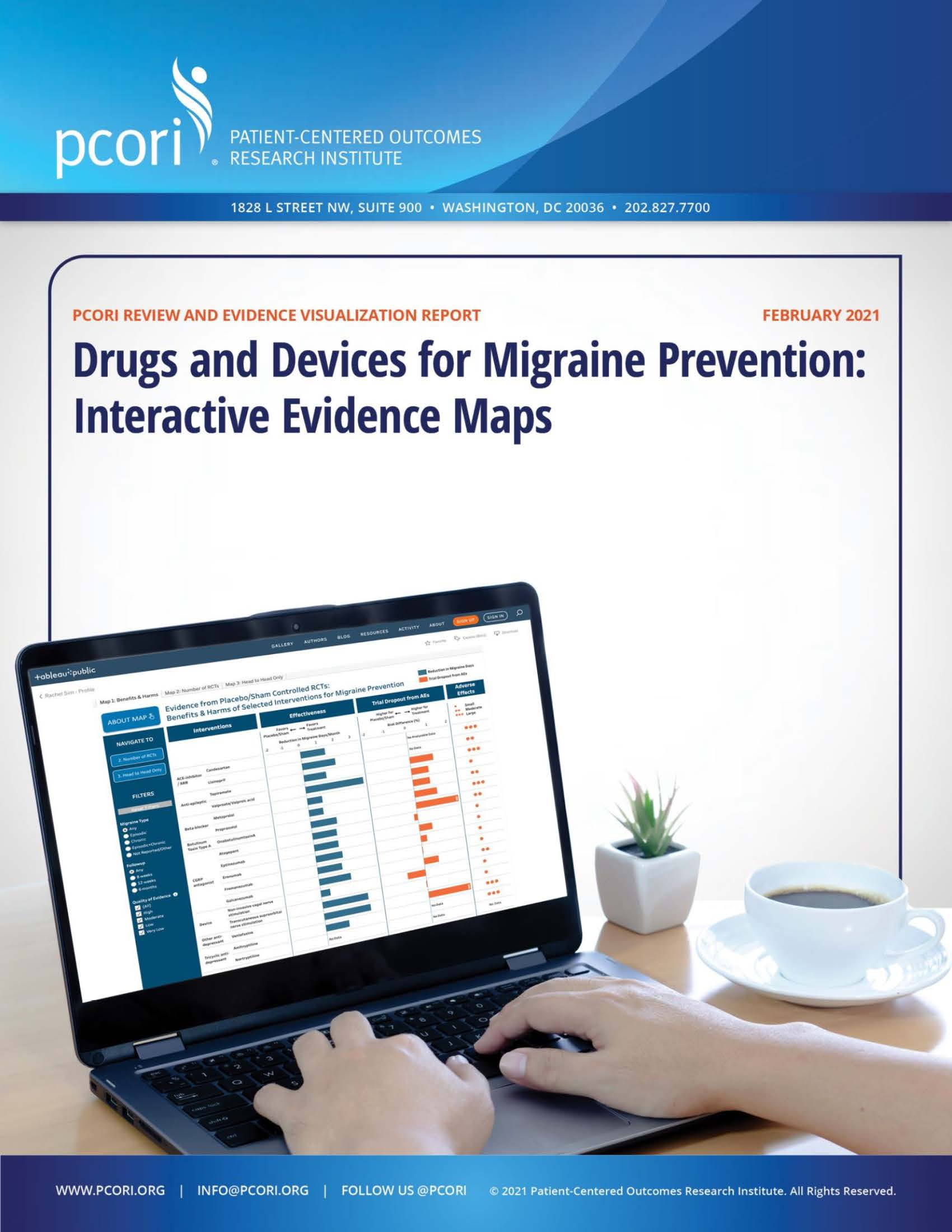 The cover of the PCORI Drug and Devices for Migraine Prevention: Interactive Evidence Maps report. The image shows a laptop with the migraine prevention evidence map on the screen with a person's hands on the keyboard.