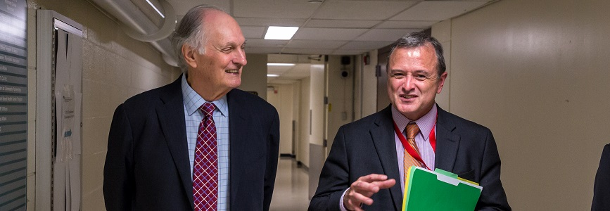 Alan Alda and Bill Shuttleworth talk at the University of New Mexico.