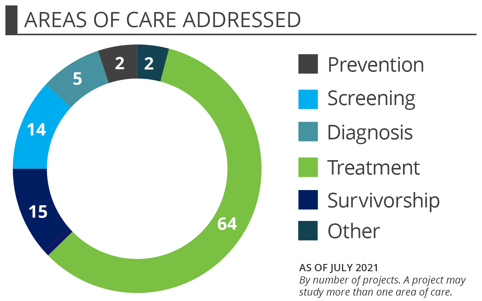 Cancer Project Portfolio - Areas of care addressed by number of projects