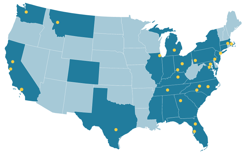 Locations of Projects in the Transitional Care Evidence to Action Network The yellow points indicate locations of TC-E2AN investigators; shaded states indicate project locations. These projects are located across 16 states and the District of Columbia.