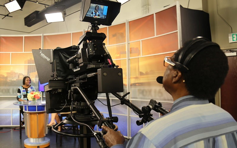 An Engagement Awardee, Keneshia Bryant, APRN, PHD, RN, appeared on a local news program to spread the word about her project's conference on health disparities. Courtesy Keneshia Bryant.